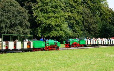 Εικόνα: Οι ατμομηχανές Krauss Lisa και Moritz συναντώνται στο μεγάλο λιβάδι στο Dresden Großen Garten