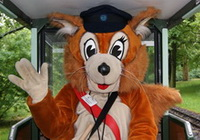 Parkolino, the  squirrel-mascot of the Railway